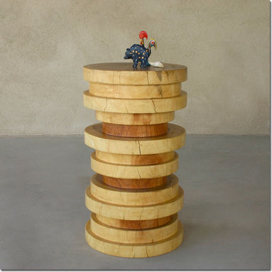 Cernosia Stool Table - Stacked wood stool table sculpted from a solid block of Margosa.