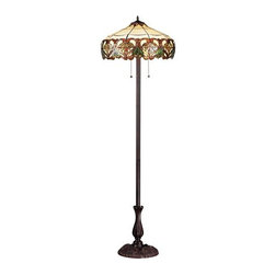 Z-Lite - Z-Lite Z20-33FL Hudson 3 Light Floor Lamp - Inspired by nature, this floor lamp displays green leaf motifs encircled by sweeping amber patterns on a beige background, adding a warm touch of light and nature to any room of the house. This fixture is finished in chestnut bronze.Features: