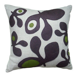 Balanced Design - Felt Appliqué Linen Pillow - Pod, Chocolate/Moss, 22x22 - Felt appliqué designs make a bold statement on this soft linen pillow. It's perfect for adding a burst of color and pattern to your home while also supporting hand-crafted work in the United States. Each pillow is sewn in Massachusetts and filled with fiber made from recycled plastic bottles. You can't go wrong with this ecofriendly design.