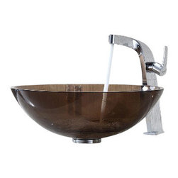 Kraus - Kraus Clear Brown Glass Vessel Sink and Typhon Faucet Chrome - *Add a touch of elegance to your bathroom with a glass sink combo from Kraus