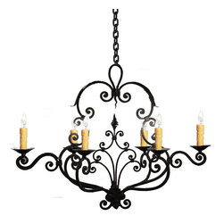 Hand Made Iron Chandelier Designs - Custom hand made iron chandelier made by skilled artisans with traditional hand forging technics, finish in one of our 12 authentic hand applied colors. All design by Hacienda Lights include your choice of color finish, up to 5 feet of chain and antique glazed candle covers.