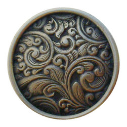 "Inviting Home - Saddleworth Knob (antique solid bronze) - Hand-cast Saddleworth Knob in antique solid bronze 1-3/8"" diameter Product Specification: Made in the USA. Fine-art foundry hand-pours and hand finished hardware knobs and pulls using Old World methods. Lifetime guaranteed against flaws in craftsmanship. Exceptional clarity of details and depth of relief. All knobs and pulls are hand cast from solid fine pewter or solid bronze. The term antique refers to special methods of treating metal so there is contrast between relief and recessed areas. Knobs and Pulls are lacquered to protect the finish. Alternate finished are available.Detailed Description: The Saddleworth pulls and the Saddleworth bin pulls both look intricate and interesting. The pulls are rectangular shaped while the bin pulls have a bit more of a dome look to them. They both can be used with the Saddleworth knobs. You may use the knobs on the doors the pulls on the smaller drawers and the bin pulls on the larger or wider drawers. That way you will get a variety of shapes and sizes while still keeping to the same design."