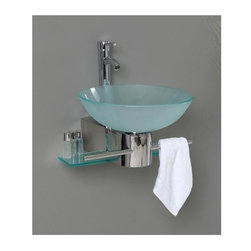 Fresca - Cristallino Modern Bathroom Vanity (Tolerus Chrome) - Choose Included Faucet: Tolerus ChromeP-trap, Faucet, Pop-Up Drain and Installation Hardware Included. No overflow. Sink Color: Turquoise. Finish: Stainless Steel. Sink Dimensions: 16.5 in. x16.5 in. x5.5 in. . Materials: Tempered Glass Vessel Sink, Stainless Steel. Single Hole Vessel Faucet Mount (Faucet Shown In Picture May No Longer Be Available So Please Check Compatible Faucet List). Vanity: 17.63 in. W x 20.25 in. D x 10.63 in. HThe Cristallino is slim and innovative, yet simple in design and construction that it can only be described as uber European. For the most compact spaces, this wall mounted vanity will fit virtually anywhere!