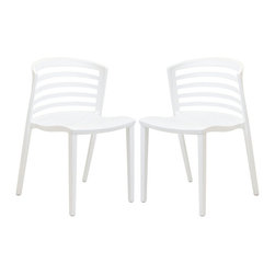 Modway Furniture - Modway Curvy Dining Chairs Set of 2 in White - Dining Chairs Set of 2 in White belongs to Curvy Collection by Modway Indulge in no-frills, straightforward contemporary style with this modern multi-purpose chair. Made from heavy-duty molded plastic this chair was built to last. Eye catching and comfortable, this reproduction brings fashion and flavor to your space. Set Includes: Two - Curvy White Plastic Chairs Side Chair (2)