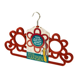 Enchante Accessories Inc - Non-Slip Multi-Use Accessory Hangers (Set of 2) Burgandy - Set of 2 non-slip accessory hangersSlim design with felt material that holds items in placeGreat for hanging scarves, belts, jewelry, watches, and hair accessoriesMaximizes space and offers convenient storage for small items Measures 18'_' x 12.5'_'     Is your bedroom closet overflowing with scarves and accessories?  The Non-Slip Multi-Use Accessory Hangers (Set of 2) by Sheffield Home make it easy to hang and organize accessories and allow you to maximize precious space in your closet.  This set of accessory hangers has a super slim design made from non-slip felt material that holds items securely in place.  The stylish flower pattern offers a range of small to large openings so that you can hang different items in different sections and get the most storage space out of each hanger.  The sturdy metal hanger is designed to hook onto any standard closet rod or can be hung on a large peg on the inside wall of your closet.  The triple flower design offer three large round spaces as well as two flat bottom bars that are perfect for hanging chunky scarves and oversized belts.  The flower petals and scroll accents on each side offer added storage for lighter weight year-round scarves, hair ribbons, slim belts, sashes, and other small items that you can never seem to find the proper storage for.  The non-slip coating keeps your items held in place so that even belts or scarves draped over the straight bottom ledge won't fall off and end up on the closet floor.  The slim design allows you to pack more hangers into your closet and create added space by not taking up excess room with the hanger itself.  Ideal for small closets, cramped closets, or dorm rooms where storage space is limited, these accessory hangers come in a rich burgundy color that makes them easy to spot in your closet and stylish enough to hang on the outside of a closet door.  A must for any girl with a collection of accessories, these hangers can also be used to hold jewelry, hair clips, or other small items.  Hang fish hook style earrings from the center bar, attach bracelets and necklaces to make it easy to spot and pick out the pieces you want to wear, or buckle watches over the bottom bar to create an instant watch display.