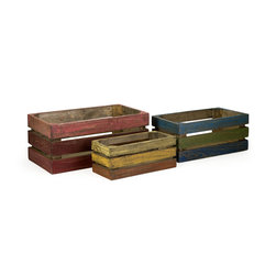 Midway Wood Crates - Set of 3 - Rustic wood drates with touches of color