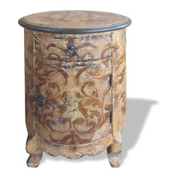 Koenig Collection - Old World Tuscan French Nightstand Round, Beige - Round French Nightstand, Antiqued Beige with Blueish Grey Distressed undertones and Scrolls.  This hand painted and hand crafted furnishing is custom made from eco-friendly materials such as solid, reclaimed, and repurposed woods and not from any protected or indigenous land. Each piece is constructed in our family owned factory in Peru using trade old techniques to ensure that it will withstand the trials of time and will be a piece that you pass on for generations. Our artists use techniques unique to them, some inherited from their families and influenced by the Spanish during the colonization of Peru. We provide detailed attention to each step of each products construction and design to ensure that each piece is perfect. Our goal is to provide you with a sustainably crafted original product of the highest possible quality in the shortest possible time!