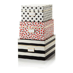 "Kate Spade - Kate Spade Black Stripe Nesting Boxes - Keep yourself fashionably organized with these Kate Spade Black Stripe Nesting Boxes.  This set comes with a black and white stripe large size box with a label reading  ""put a lid on it"", a medium size  box in floral with a ""keep it together"" label and last but not least, a small white with black polka dot box with the label ""stow away"". Interior of the large and small  box is floral and the medium box is polka dot. Your stuff can't live without these. Large-Striped Print 12 1/2"" X 10 1/4"" X 7"" Medium-Floral Print 11 1/2"" X 9 1/4"" X 6 1/4"" Small-Dot Print 10 1/2"" X 8 1/4"" X 5 1/2"""