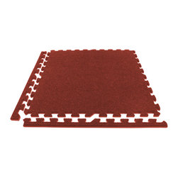 FlooringInc - FlooringInc Eco Soft Carpet Tiles (12 Tiles, 48 Sqft) Foam Carpet Tiles, Burgund - Description - Our interlocking economy soft carpet tiles are an ideal choice for a low cost carpet tile. These discount tiles are light weight, easy to install, and portable. These tiles are also slightly less durable than our standard soft carpet tiles and therefore have a lower price. A good rule of thumb when determining which carpet tile grade would work best for you is that these economy grade tiles will start to show some wear and tear after a few trade shows where as our premium carpet tiles will take 10-20 shows to start showing any wear and tear typically. Our economy grade carpet tiles also have a high density EVA foam backing to help provide comfort and cushion under foot. Our customers tell us this helps them immensely when they are stuck on their feet for many hours on end. Even though these carpet tiles are cheap in cost, they also have many of the same benefits of our premium carpet floor tiles in that they are also waterproof, sound absorbing, and help insulate users from cold concrete sub floors. Each economy soft carpet tile also comes with detachable border pieces. This means that each carpet floor tile can be a border, center, or corner tile.