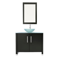"35.5"" Gemini Single Glass Vessel Sink Modern Bathroom Vanity Cabinet with Top"