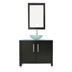 "JWH Imports - 35.5"" Gemini Single Glass Vessel Sink Modern Bathroom Vanity Cabinet with Top - A powder room is just another room in the house — unless it has this vanity with a glass vessel sink. Your guests might need to powder their noses more often than usual, just to look at this stunning visual. Maybe your kids would, too?"
