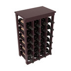 24 Bottle Kitchen Wine Rack in Redwood with Burgundy Stain + Satin Finish - Petite but strong, this small wine rack is the best choice for converting tiny areas into big wine storage. The solid wood top excels as a table for wine accessories, small plants, or whatever benefits the location. Store 2 cases of wine in a space smaller than most televisions!