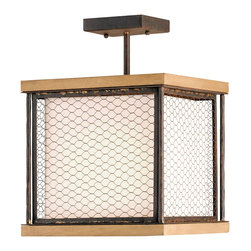 "Kathy Kuo Home - Industrial Chic Wood Wire Mesh 1 Light Ceiling Mount - Though the materials are certainly industrial or rustic, the first ""read"" this piece gives is Asian.  We could see this easily fitting into a Japanese inspired space.  Industrial loft style is definitely in the mix here too, with a wire fence type of framing and wrought iron details."