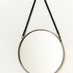 "Anthropologie - Sailor's Mirror - Copper with cotton jute or brass with leatherMedium: 9"" diameterLarge: 15"" diameter1.5"" projectionImported"