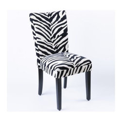 """Zebra Parsons Chair - Every decor needs a touch of whimsy.  The """"Zebra Parsons Chair"""" is just the right amount of fun and whimsy for a room that could use a little zing."""
