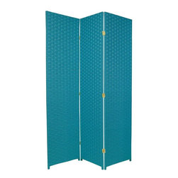 Oriental Furniture - 6 ft. Tall Woven Fiber Room Divider - Special Edition - Turquoise Blue - 3 Panel - Hand crafted folding screen, built from three light weight wood frames cross woven with eco-friendly spun plant fiber. Hand-woven tight weave still allows some light to pass through. Use to divide a living space, hide a messy work area, or block light from a bay window or doorway.