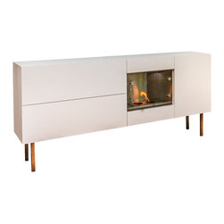 Habitat Systems Standard Firespace - Drawing on the elements of nature, this versatile, stand-alone fireplace serves many contemporary functions: entertainment center, side bar, buffet or storage unit. You can easily move it around to suit your needs too.