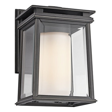 Kichler Lighting - Kichler Lighting Lindstrom Modern / Contemporary Outdoor Wall Sconce X-ZR00494 - The Kichler Lighting Lindstrom Modern / Contemporary Outdoor Wall Sconce features a cast aluminum body with a clear beveled outside glass enclosing satin etched interior glass for a depth of interest. The outdoor wall light fixture has crisp lines typical of modern and contemporary style architecture and design. Ideal for clean, minimal spaces.