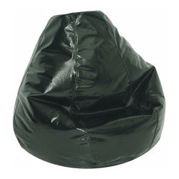 Elite Products - Wetlook Adult Bean Bag w Locking zipper - This jet black wetlook adult size bean bag is perfect seating in any room for all ages.  Its lightweight polyester/cotton blend cover provides easy transport, storage, and accessibility. Long lasting and durable. Double stitched with double overlap folded seam. Double zippered bottom for added security. Childproof safety lock zippers (pulls have been removed). Can easily be refilled by an Adult. Light, convenient to move and store. Easy to Clean. Recommended seating for all ages. Warranty: One year limited. Made from PVC vinyl and polystyrene bead. Made in USA. No assembly required. 33 in. L x 32 in. W x 33 in. H (8 lbs.)