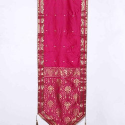 Indian Selections - Handmade Pink Wall Decor Tapestry with Tassels, 18 X 60  In. - Size: 18 X 60 Inches with 4 Inches Loops