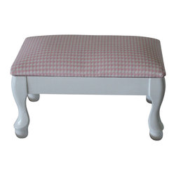 """WingBack - Pink Houndstooth Foot Stool - A lovely pink and white houndstooth foot stool.  This is a part of The Elephants on Parade Collection from WingBack and measures 14"""" X 9"""" X 8"""" and is reupholstered in a Premier Prints cotton duck fabric."""