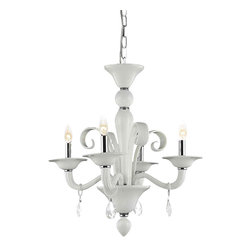 Elegant - Muse White Royal Cut Dining Room Chandelier - Dramatic in its scale, color and delicate filigree, this design is a reproduction of a Venetian-style chandelier, with scrolling leaf and flower motifs.  The Muse Collection is modern beyond its years.