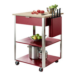 Crosley - Culinary Prep Kitchen Cart in Red - Dimensions:  35.5 x 28 x 24 inches