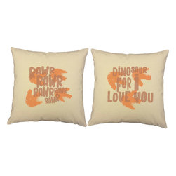 RoomCraft - Rawr Dinosaur Throw Pillow Covers - 16x16 Natural Shams - FEATURES: