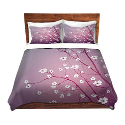 DiaNoche Designs - Duvet Cover Microfiber - Blooming Tree Red Wash - Super lightweight and extremely soft Premium Microfiber Duvet Cover in sizes Twin, Queen, King.  This duvet is designed to wash upon arrival for maximum softness.   Each duvet starts by looming the fabric and cutting to the size ordered.  The Image is printed and your Duvet Cover is meticulously sewn together with ties in each corner and a hidden zip closure.  All in the USA!!  Poly top with a Cotton Poly underside.  Dye Sublimation printing permanently adheres the ink to the material for long life and durability. Printed top, cream colored bottom, Machine Washable, Product may vary slightly from image.