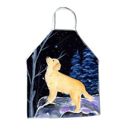 Caroline's Treasures - Starry Night Golden Retriever Apron - Apron, Bib Style, 27 in H x 31 in W; 100 percent  Ultra Spun Poly, White, braided nylon tie straps, sewn cloth neckband. These bib style aprons are not just for cooking - they are also great for cleaning, gardening, art projects, and other activities, too!