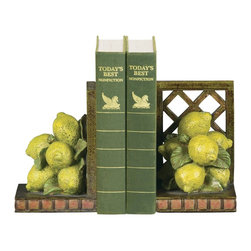 Sterling Industries - Sterling Industries Pair Lemon Orchard Bookends X-3265-39 - This Sterling Industries bookend set from the Lemon Orchard Collection features a design perfect for kitchens, dining rooms or elsewhere. The lattice backing accentuates the bunch of lemons, which are beautifully colored to add interest and appeal. A blend of life-like colors complete the look.