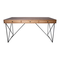 "Noir - Kato Desk - The contemporary Kato desk reinvents avant-garde function. A walnut surface offers three sleek storage drawers, while a minimal metal base forms a striking geometric design. 24""W x 24""D x 18""H; Walnut top features a wax finish"
