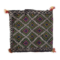 Pre-owned Vintage Moroccan Berber Pillow Case - Beautiful hand-woven Tribal Berber Kilim pillow case, made from wool, natural materials and organic pigments. Pillowcase has an opening along the edge to allow for stuffing (pillow comes unstuffed). The traditional tribal pattern includes black, white, coral, blue and green hues. The decorative yellow and orange plaited seam along the 3 finished sides features tassel tufts, and both the front and back are identical.     Please note, there are two of these pillow cases available. If you're interested in purchasing both, please contact support@chairish.com.