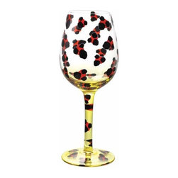 WL - Painted Wine Glass with Red and Black Leopard Spots Decorative Design - This gorgeous Painted Wine Glass with Red and Black Leopard Spots Decorative Design has the finest details and highest quality you will find anywhere! Painted Wine Glass with Red and Black Leopard Spots Decorative Design is truly remarkable.