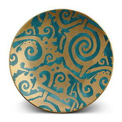 L'Objet Fortuny Maori Blue Dessert Plates - Well suited for a family holiday dinner with layers of rich jeweled tones and golden accents, this line of china is painted to match the famous prints of Fortuny fabrics.
