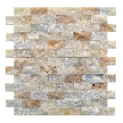 STONE TILE US - Stonetileus 4 pieces (4 Sq.ft) of Mosaic Tile Onxy 1x2 Split face - Mosaic Tile Onxy 1x2 Split faceFree shipping.. Set of 4 pieces, Covers 4 sq.ft.