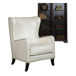 "Coaster - Accent Chair (Pearlized White) By Coaster - This sophisticated accent chair is covered in an embossed faux crocodile leather-like vinyl in pearlized white with a brass nailhead trim. Dims: 31.25"" X 36.50"" X 41""."