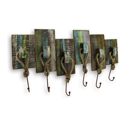 Zeckos - Weathered Nautical 6 Hook Wall Rack - Dress up your walls with a beautiful and rustic nautical styled wall hook rack that is perfect for a pool or beach house. This rustic wall rack has six large metal hooks attached with jute rope to hang your towels, coats or your favorite hanging decorations. It measures 24.25 inches (62 cm) long, 13.75 inches (35 cm) wide and 1.75 inches (4 cm) deep. The shabby chic finish of muted blue, green and grey complements any decor. It is constructed of wood and hand painted to give it that weather worn appeal. This would make a great wall enhancement for any seaside eatery or even a fishing shanty