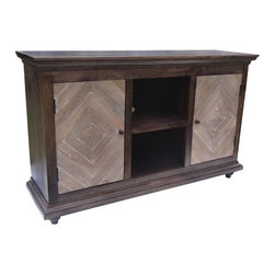 YOSEMITE HOME DECOR - 2 Door 2 Open Space Media Cabinet - This stunningly clean and stateful solid mango media cabinet adds beauty to any home. The worn black cabinet features two diamond patterned washed slat doors. Each side has a solid mango inner shelf for additional storage. Assembled, made in India.