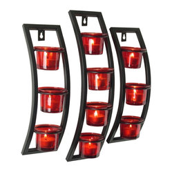 Danya B. - Set of Three Curved Frame Sconce Set with Red Tea Light Glass Cups - Give your home a bit of modern romantic ambience with this set of three curved frame sconce candleholders. This rustic-chic set comes with red recycled glass cups attached, ready and waiting for you to fill with votives and illuminate your room in a rosy glow.