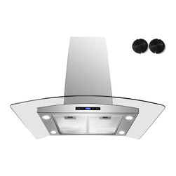 GOLDEN VANTAGE - GV 36-Inch Stainless Steel Island Range Hood W/Carbon Filter For Ductless Option - Our Contemporary Europe design range hoods capture the most pollutants, grease, fumes, cooking odors in a quiet way but maintain a strong CFM From 300-900 depends on the style or model you choose. GV products not only provide top notch quality of material, we also offer led lighting, quite chamber blower,adjustable telescopic chimney. All of our range hoods can convert to ventless/ductless options if outside exhaust not permitted.    Features: