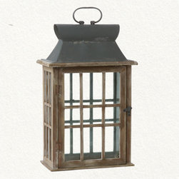 Wood & Glass Lantern - This lantern feels 100% vintage. it has a great look with the wooden windows and latched door. Hang it on your front porch or back patio for extra lighting and a beautiful accent.