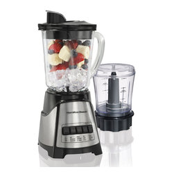 Hamilton Beach - Hamilton Beach Blender Food Chopper Black - From Hamilton Beach, this BlenderChef is two appliances in one with 700 Watts of peak power: a 12 Speed Blender with 40 oz. dishwasher safe DuraBlend jar and a three cup capacity Food Chopper. Its patented Wave-Action system provides a smooth blend and, with the Stainless Steel Ice Sabre blades, ice chunks are eliminated. Food Chopper has oil/liquid dispenser and Stainless Steel chop/mix blade. Black.