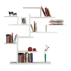 Decortie - Bonsai Bookcase, White - A fabulous and individual statement piece for a contemporary interior, the Bonsai Bookcase resembles the famous Bonsai tree with an intricate pattern for shelving space, it is a fabulous statement piece for the living room and is perfect for storing books, CD's and DVD's.