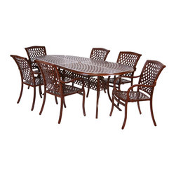 """Classic 7pc Dining Set, Pecan - The Classic Collection 7pc Dining Set includes 6 arm chairs and one 82"""" oval table. This durable, aluminum set in a faux wood-grain powder coat finish features a timeless design that is sure to add beauty to any outdoor living area. The arm chair incorporates a cast contoured seat and back, providing superior comfort."""