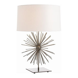 Arteriors - Dandelion table lamp - This lamp features a starburst of natural iron that appears to float off the square base.  We shaded it in off-white linen with a matching diffuser.  Takes 1 - 150 w 3-way bulb.
