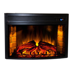 ClassicFlame - Comfort Smart Verve 24-in Curved Electric Insert -CS-501625 - The Comfort Smart Verve Electric Insert with Curved front features realistic hand-painted resin logs and ember bed, 24 x 13.25-inch viewing area, energy-saving LED technology, and a digital thermostat. The CS-501625 includes a multi-function remote that controls temperature, flame brightness, embers, downlight, and timer. This Comfort Smart Electric Insert plugs into a standard household outlet and provides supplemental heat for up to 400 square feet.