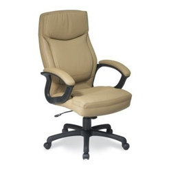 Office Star Work Smart Executive High Back Tan Eco Leather Chair with Locking Ti