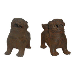 "Golden Lotus - Pair Chinese Rustic Iron Couching Fu Dog Figures - Dimensions:  6"" x 3""x  h5"""