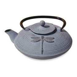 """Tetsubin - Tetsubin """"Placidity"""" 26-Ounce Cast Iron Tea Pot with Infuser in Lavender - This elegant and distinctively-shaped cast iron tea pot was inspired by highly-prized antique Japanese cast iron tea pots that are still in use today."""